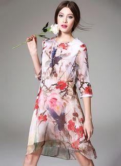Seide Blumen 3/4-lange Ärmel Knielang Vintage Kleider