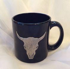 NEW Heritage Pewter Southwestern Cow Steer Skull Coffee Cup Mug Black USA Made #HeritagePewter