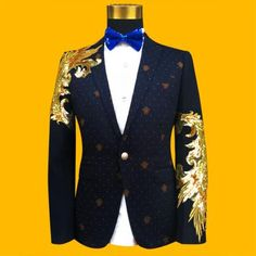 New Slim Male Suits Blazer blue/Black Gold Sequins Embroidery Fashion