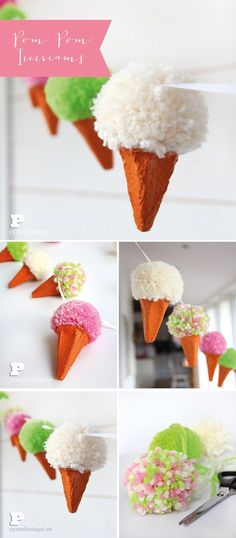 DIY PomPom Ice Cream Garland - really pretty and fun to make! This would be a lovely decoration for a summer party!