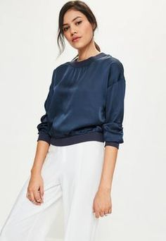 Navy Satin Long Sleeve Crop Top