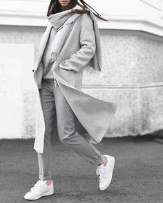 All cozy in all grey.. ☁️☁️ | Coat & Pants: Zara / Knit: Acne Studios / Scarf: Cos / Shoes: Adidas Originals