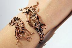cuff bracelet wire wrapped jewelry handmade copper by BeyhanAkman, $39.00