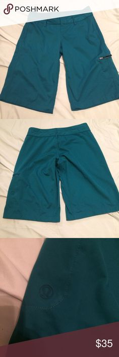 Lululemon Swim Trunk Teal Green swimming trunk for women...Velcro with zip...in great condition super comfy, couldn't find the size on these but it should be a size 4...Price reflect brand and condition, ask any question below before purchase, will only negotiate through offer button..if the price is not a steal feel free to shop elsewhere, price is firm lululemon athletica Swim