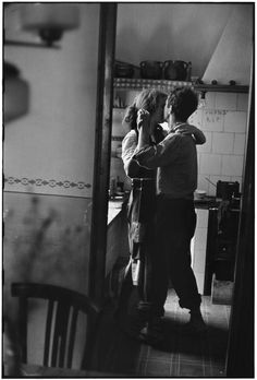 """Available for sale from Magnum Photos, Elliott Erwitt, """"Couple dancing"""" (Valencia, Spain) Signed silver gelatin print (photographer's signature on … Dancing In The Kitchen, Robert Frank, Valencia Spain, Lets Dance, Romantic Dinners, Romantic Recipes, Belle Photo, Black And White Photography, In This Moment"""