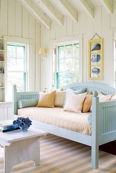 """Find Your Maine Style Make any home feel like a beach cottage brimming with coastal charm. Read more in our April 2014 feature, """"Find Your Maine Style."""" Photo by James R. Decor, Beach House Interior, Cottage Style, Coastal Cottage, Beach Cottage Decor, Coastal Bedrooms, Interior Design, Home Decor, House Interior"""