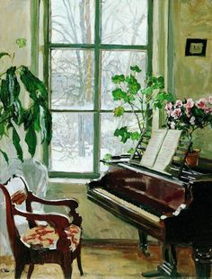 interior with a piano – Stanislav Zhukovsky (Polish-Russian, – Stanislav Yulianovich Zhukovsky was a Polish-Russian Impressionist painter, and also a member of the prestigious Union of Russian artists. Russian Painting, Russian Art, Russian Style, Piano Art, Piano Room, Illustration Art, Illustrations, Through The Window, Open Window
