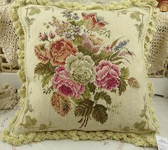 18-Chic-Shabby-Floral-Handmade-Needlepoint-Pillow-Cushion-With-Fringe