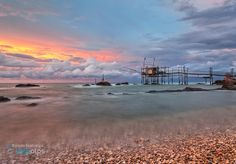 Sunset to Trabocchi coast ~ Italy by Alfredo Costanzo on Beach Rocks, Costa, Italy, Clouds, San, Explore, Mountains, Sunset, Landscape