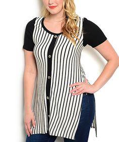 Another great find on #zulily! Black & White Stripe Side-Split Button-Up Tunic - Plus #zulilyfinds