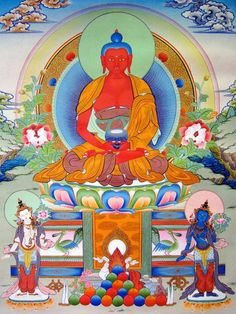 Amitabha Thangka ~ Amitabha with attendants in front, the bodhisattvas Avalokitesvara and Peaceful Vajrapani Tibetan Mandala, Tibetan Buddhism, Buddhist Symbols, Buddhist Art, Vincent Van Gogh, Francois 2, Alphonse Daudet, Amitabha Buddha, Astronomy