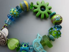 Lime and Turquoise Bracelet with Lampwork Glass Beads via Etsy
