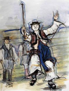 Ľubomír Korenko, akvarel Valašky naše (Detvanec), cm, 120 €, na vyžiadanie Folk Art, Painters, Popular Art