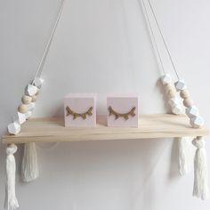 Decor - Wooden wall shelf Geo Beads- White (D-43.1)