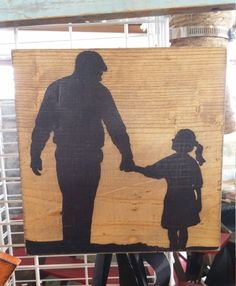 Father and Daughter Holding Hands Silhouette, Gift for a Father or Daughter, Perfect Wall Decor by creationfanatic on Etsy