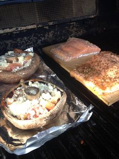 Dicky moe port side planked salmon with portobello pizza mushrooms on the grill tonight! Lean versatile tasty!