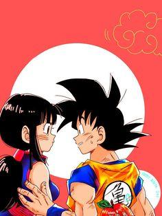 Goku e Chichi Dragon Ball Gt, Goku E Chichi, Milk Y Goku, Manga Art, Anime Art, Manga Dragon, Fanart, Anime Couples, Kawaii Anime