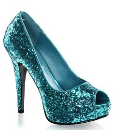 These gorgeous turquoise twinkle slip on platform pumps by Fabulicious Shoes are perfect for that perfect outfit or costume idea. These classic turquoise sparkle heels have a 5 inch heel. All man made