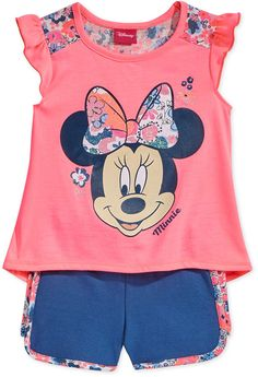 Disney's Minnie Mouse Graphic-Print Tank Top & Shorts Set, Little Girls - Pink 5 Toddler Girl Outfits, Toddler Fashion, Kids Outfits, Disney Shirts For Family, Shirts For Teens, Teen Graphic Tees, Printed Tank Tops, Kids Girls, Kids Fashion