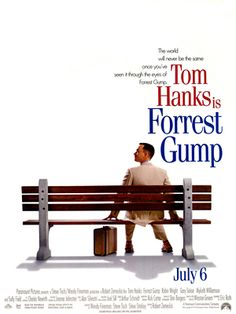 """Forrest Gump"" (1994). Directed by Robert Zemeckis. Starring: Tom Hanks, Robin Wright, Gary Sinise, Mykelti Williamson, Sally Field. It is a story about a slow-witted and kind-hearted young man, Forrest Gump by name. We see a lot of events of the latter half of the 20-th century through his eyes. Recommended age - 14+"