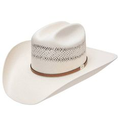 """Style #RSCOLT Resistol 10X George Straight Colt Straw Hat. Brim: 4 ¼"""" 4 1/8"""" vented crown 10X straw Leather hatband with George Strait buckle Western Hat Styles, Western Hats, Western Wear, Resistol Hats, Cowgirl Hats, Cowboy Boots, Hat For Man, Kentucky Derby Hats, Texans"""