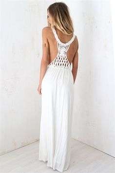 Goddess Macrame Maxi - Dresses by Sabo Skirt White Maxi Dresses, White Skirts, Macrame Dress, Boho Fashion, Fashion Outfits, Buy Dresses Online, Sabo Skirt, Unique Dresses, Dress To Impress