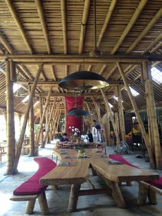 Bamboo structure for two story building. Loc: Dapoer Restaurant, Ubud