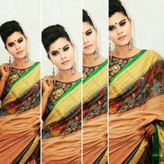 Braid de' Pen Kalamkari Kerala Saree Handloom  #PaarvatiSaraswathy Model- Gopika Gopakumar Nair  Photography- Abi Yeshodaran Makeup - Thousif Sait Straight Pen Kalamkari done on Kerala Handloom