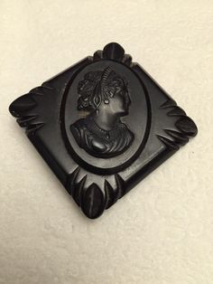 Vintage Deeply Carved Black Bakelite Cameo Mourning Pin Brooch