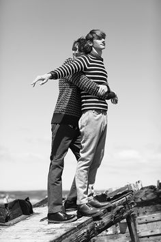 Sam Alexander at Established Models and Tim Sprague at NEVS Models, photographed by Cecilie Harris for Boys by Girls. Styling by Rachel Davis. Tim wears Denim Shirt by Levis, Jumper by Albam, Trousers by Alan Taylor, Belt by Peter Jensen and Shoes by Dr Marten. Sam wears Jumper by Gloverall, Trousers by Penguin and Shoes by Dr Marten. See the full series here.