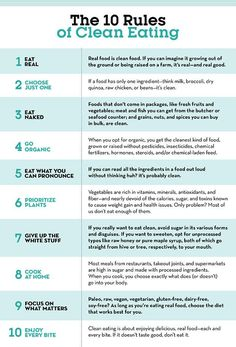 How to Eat Clean: 10 Rules to Follow  https://www.prevention.com/eatclean/how-to-eat-clean