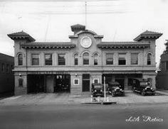 The L.A. Fire Department, Engine 27, and the L.A. Police station, sharing the same building at 1629 Cahuenga Avenue, Hollywood in 1916. Source: LAPL