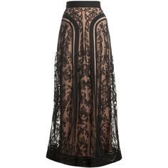 TEMPERLEY LONDON Long Bertie Skirt (€745) ❤ liked on Polyvore featuring skirts, bottoms, long skirts, maxi skirt, long maxi skirts, long brown skirt, long lace skirt and brown skirt