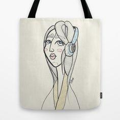 Little music girl Tote Bag by Lucia Bellunato - $22.00