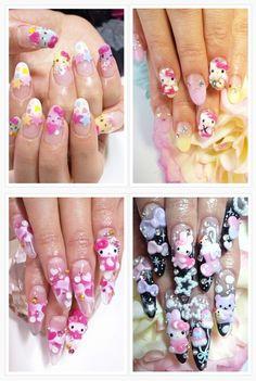 Hello Kitty Nails i neeed this. Kawaii Nail Art, Cute Nail Art, Garra, Hello Kitty Nails, Diva Nails, Stiletto Nail Art, Japanese Nail Art, Cat Nails, Pink Nail Designs