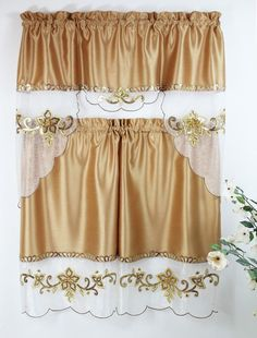 Nice Catalina Gold Kitchen Curtain With Swag And Tier Set 36 In  #MystiqueHomeFashion