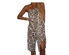 Silk Chiffon Animal Print Strapless Jumpsuit - The Safari Goddess