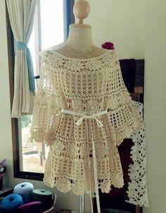 Lace Dress Pattern, Crochet Lace Dress, Crochet Blouse, Knit Crochet, Crochet Wedding Dresses, Diy Crafts Crochet, Crochet Woman, Crochet Fashion, Beautiful Crochet