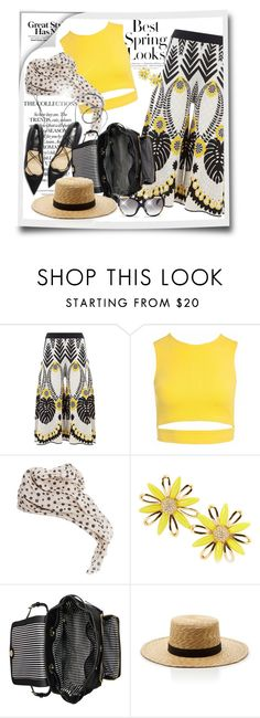 """""""Patterned Pants"""" by cavell ❤ liked on Polyvore featuring H&M, Temperley London, Sans Souci, MANGO, Kate Spade, Janessa Leone and Alexander McQueen"""