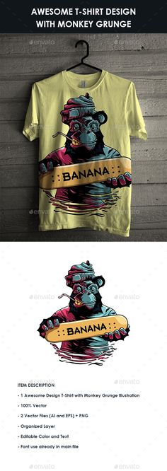 #T-Shirt design with Monkey Grunge #Illustration - Designs T-Shirts