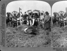 Geronimo, the famous Apache chief, skinning the buffalo after the hunt Oklahoma, USA, 1909