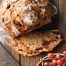 No-Knead Harvest Bread. AP flour, whole wheat flour, yeast, cranberries, golden raisins, nuts. Requires overnight or all day rise. Cab be baked in loaf pan if 9″ x 5″ or larger. King Arthur Flour