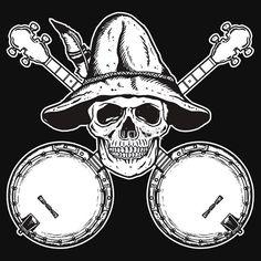Blue Grass Skull and Banjos