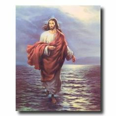 Jesus Christ Walking On Water Religious Picture Art Print