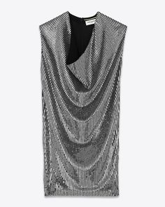 saintlaurent, Bénitier Mini Dress in Black Silk Georgette and Silver Micro Sequins