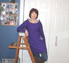 Long soft Sweatshirt Hoodie Dress.  Purple Pixie Tunic to wear with leggings. Made  by HoodieWinks. $59.99