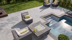 Modern outdoor pool and hardscape... Rinox proma xl paver and solino fire pit