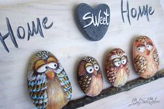 Funny Hand Painted Home Sweet Home 3-D Artwork with a Family of Colorful Owls! Made with Painted Stones and Tiny Brushes for a Happy Family! My hand painted 3-D paintings are unique pieces of art! Ready to hang, they are made with painted pebbles, twigs and smooth marble hearts. I paint