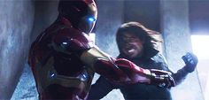 Bucky vs Iron Man (Civil War) that hair tho. <-- are we forgetting the primal yell that shows all his teeth and the muscles in his throat?? Swoon