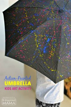 Action-Painted Umbrella Kids Art Activity - Inspired by Famous Artist Jackson Pollock and Perfect for Spring - at B-Inspired Mama